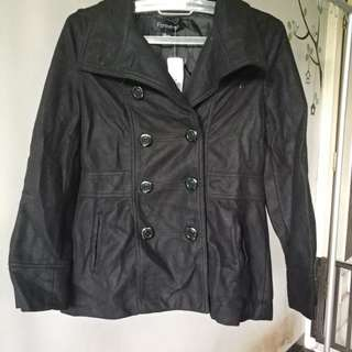 Forever 21 black coat jacket winter simple wind