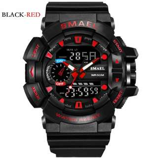 SMAEL digital sport watch w/analog time waterproof 10M 1yr warranty 1436