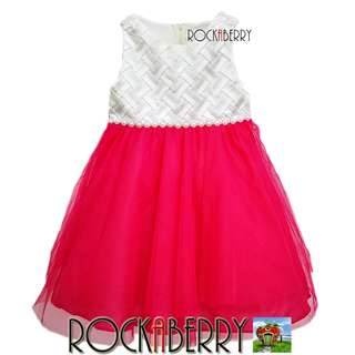 Rare Editions White Weave   Fuchsia Pink Girl's Dress
