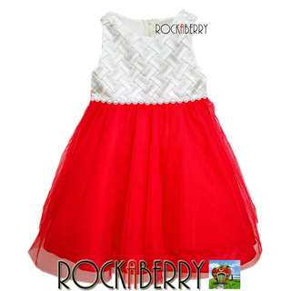 Rare Editions White Weave | Red Girl's Dress