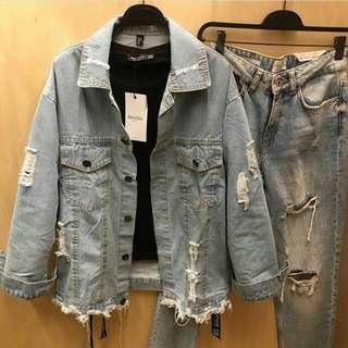 Oversize jaket bershka ripped
