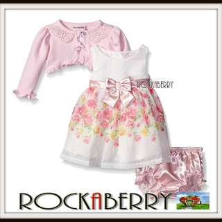 Nannette Pink Floral Dress w/ Bolero & Nappy Cover Set