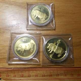 1995年國家上海造幣廠生肖銅章3枚原封未拆 便宜出#53