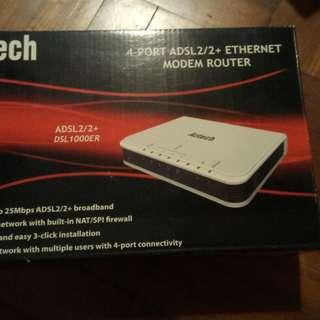 Aztech 4 port ADSL2/2+ Ethernet Modem Router DSL1000ER