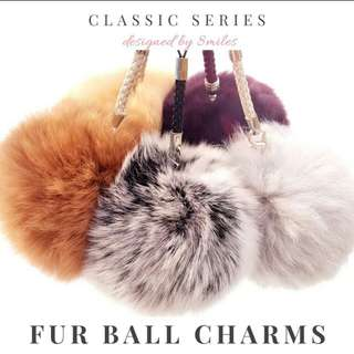 (Fast delivery) Real rabbit fur Furball Keychain charm