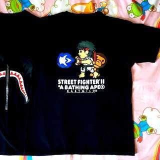 A Bathing Ape Baby Milo x Street Fighter Ryu Black Tee.