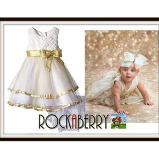 Rare Editions White Weave Gold Glitter Dress w/ Nappy Cover