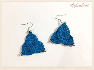 Blue Triangle Crochet Earrings
