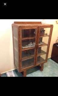 Vintage glass U-leg display cabinet