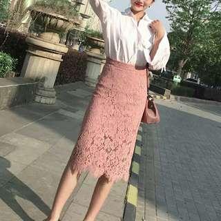 韓版蕾絲包臀長裙