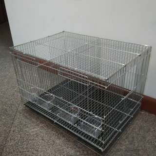 Galvanized Breeding Cage with Divider and 2 Nestbox openings