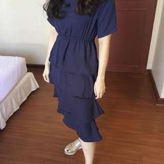 Ruffled Dress Navy