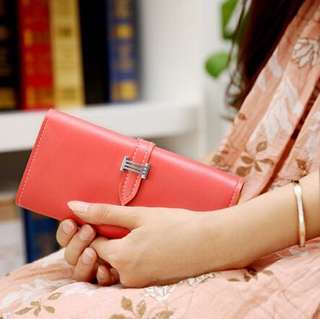 (Sales) Light Pink Ladies Coloured Long Wallet