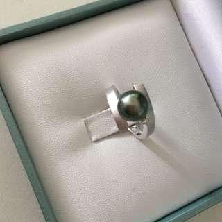 ✨New 18K Tahitian pearl diamond ring 18K大溪地黑珍珠鑽石戒指✨