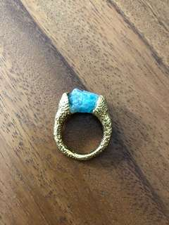Gold ring with Aqua coloured stone