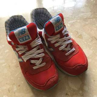 Authentic New Balance Shoes WL 574 Red