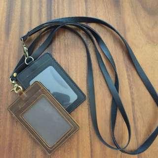 Black & Brown leather lanyard