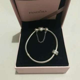 """PANDORA Heart Clasp Bracelet, inyerlocked heart safety chain with """"Love,Always"""" charm"""