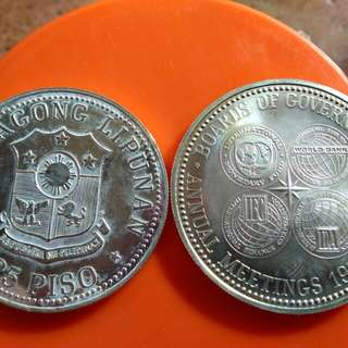50 and 25 peso silver coin