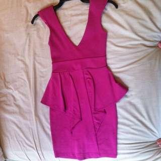Fuschia Peplum Bodycon Dress (size 6)