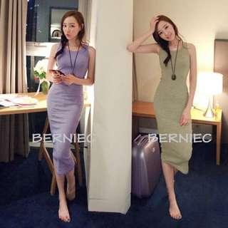 🔴 SALES | BNIB Korean Style Basic Bodycon 3/4 Maxi Long Dress (D14)