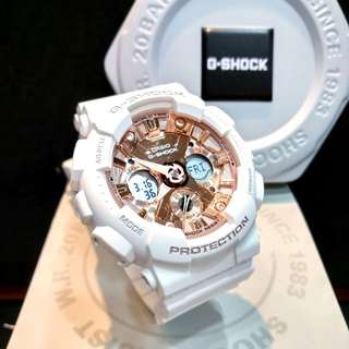 * FREE DELIVERY * Brand New 100% Authentic Casio GShock Mini for Ladies G Shock Matt White & Rose Gold Dial G-Shock GMAS120MF 7A2 GMAS120MF-7A2DR