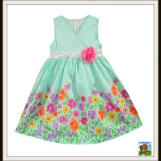 LJ Fashions Green Garden Girl's Dress