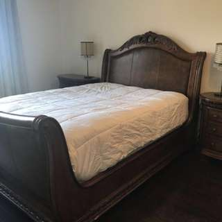 6 piece wood & leather queen sleigh bed set