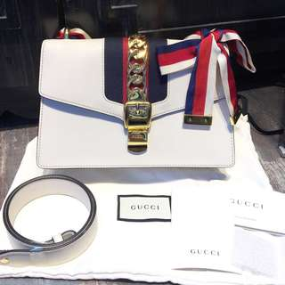 95%new Gucci Sylvie 彩帶袋 中size