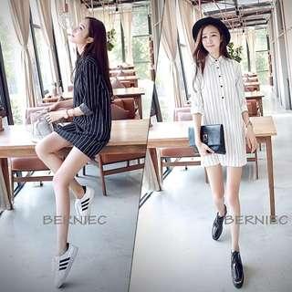 🔴 SALES | BNIB Korean Style Oversize Stripe Boyfriend Bf Collar Shirt Mini Dress (D36)