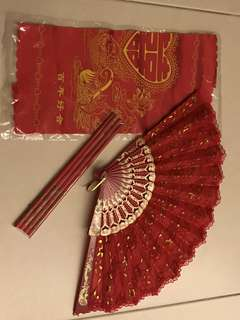 Wedding fan, chopsticks, handkerchief guo da li
