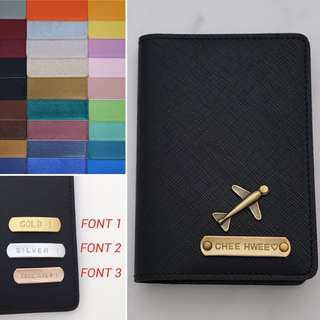 Custom Passport Holder Personalised Passport Holder Cover Customised NAME Passport Case Saffiano Black Charm 20 Plane FREE SHIPPING Many Colours & Charms