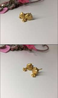 24k real gold hello kitty ear ring