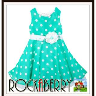 Rare Editions Light Green Polka Dot Girl's Dress