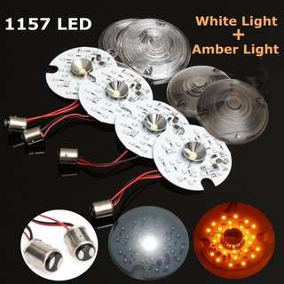 1 pair Amber Dual LED Turn Signal Kit Day Time Running Touring Maker 1157 For Harley (Clear)