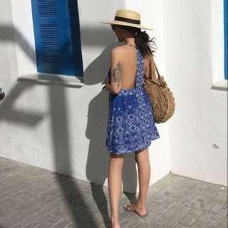 OshareGirl 09 歐美幾何圖騰連身洋裝UO系列LOOKBOOK(藍色) summer free