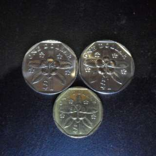 1986 & 1987 Singapore Extra Large Unc $1 Coin