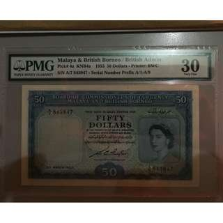 1953 Malaya & British Borneo Queen Elizabeth $50: For Sharing Only