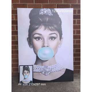 Tiffany Aundrey Hepburn High Quality Canvas Print