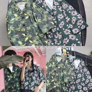 Vintage Floral Leaves Oversized Shirt Unisex