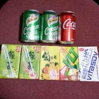 250g紙包飲品5件 及 330g罐裝汽水3件