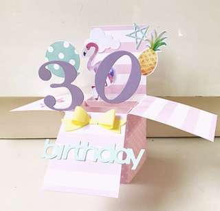 Happy 30 Birthday in flamingo and pineapple pop up card theme