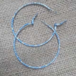 Blue-white Hoop Earrings in Medium
