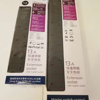 PHILIPS extension sockets cord 拖板