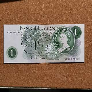 1966 Bank of England 1 Pound Banknote