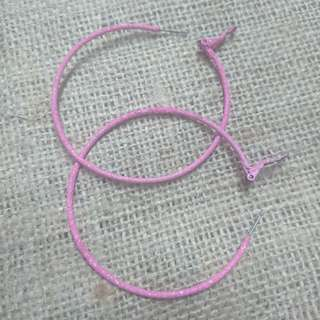 Baby Pink w/ A Hint of Glitter Hoops in Medium