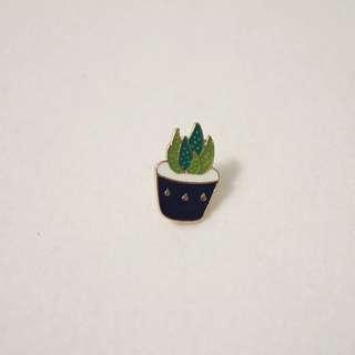 Blue Pot Succulent Enamel Pin