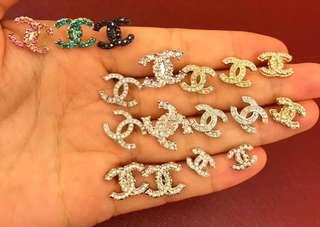 Chanel彩鑽白鑽水晶耳環首飾