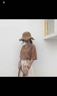 brown khaki oversized top