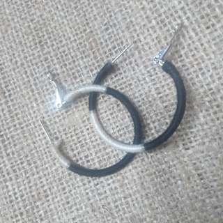 B&W Hoop Earrings in Small